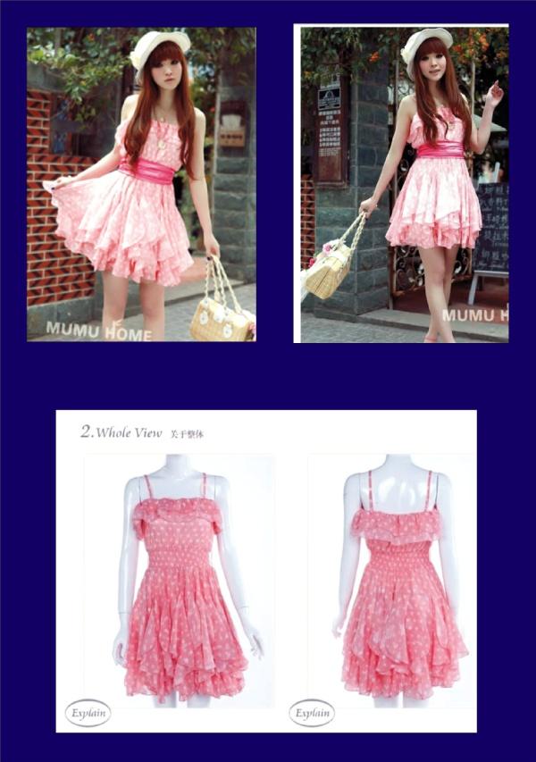 (001) gaun pendek  warna pink HKD 166, ukuran one size